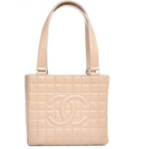 CHANEL Lambskin Chocolate Bar Quilted Shoulder Bag